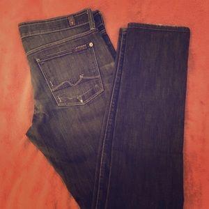 7FAM Roxanne Skinny Jeans Size 29 Dark Wash